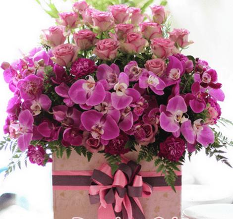 Hoa mau tim tang sinh nhat